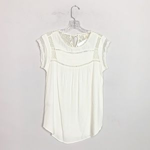 Anthropologie | eyelet lace cap sleeve blouse S